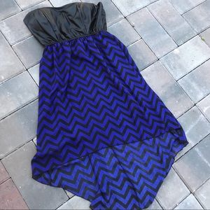 Strapless Chevron print high low dress
